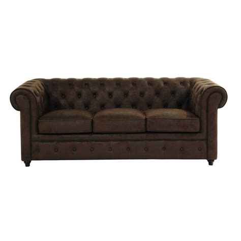 canapé chesterfield marron canapé capitonné 3 places en suédine marron chesterfield