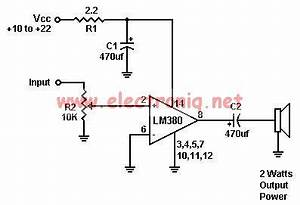 lm380 audio amplifier electronic project circuit diagram world With audio splitter amplifier circuit diagram using tl084 super circuit