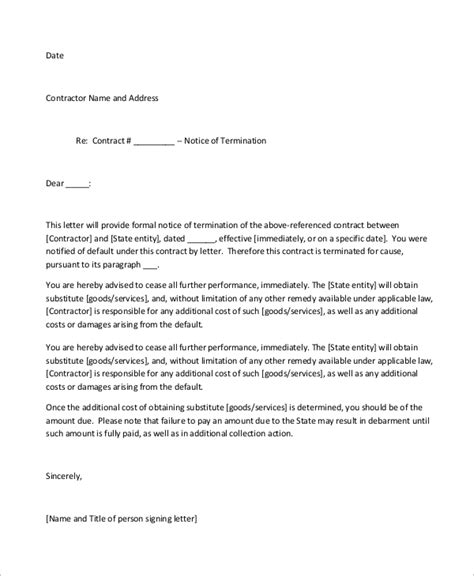 sample  termination letter  examples  word