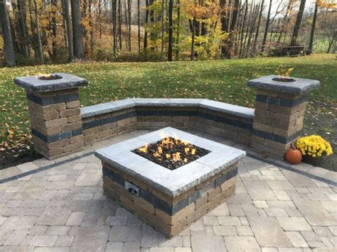 Paver Patio With Natural Gas Fire Pit, Two Gas Fire