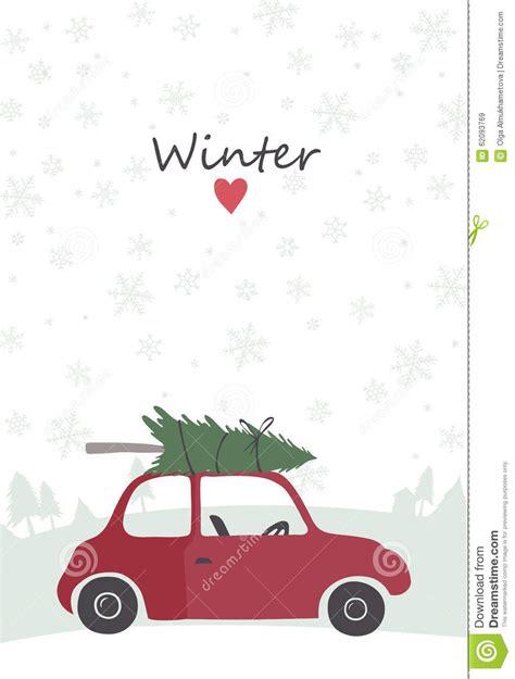 illustration  retro red car  tree   top stock