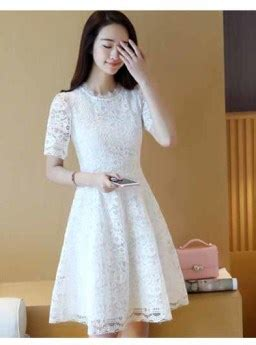 dress lengan pendek brokat putih terbaru jual model