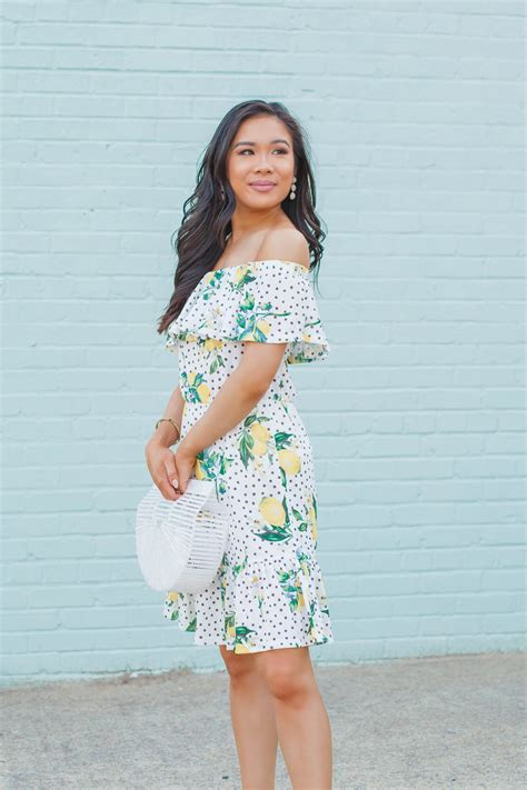 lemons   shoulder lemon print dress