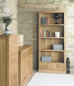 Mobel Oak Large 3 Drawer Bookcase Bookshelves With Drawers