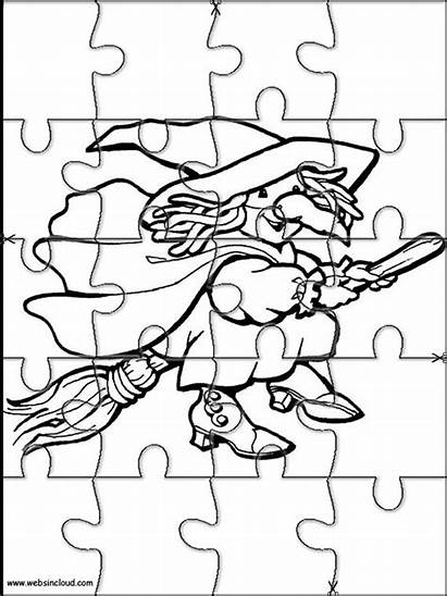 Halloween Puzzles Printable Cut Jigsaw Puzzle Coloring