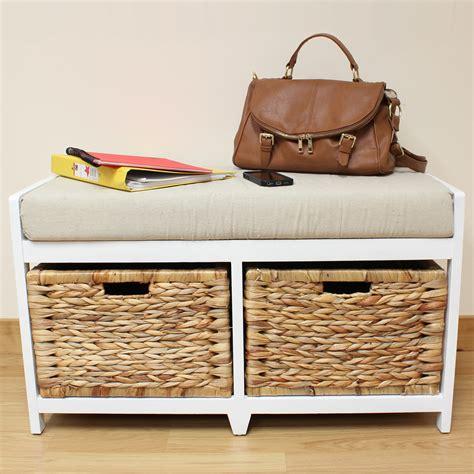 Bench Seat With Basket Storage by Storage Bench Cushion Seat Seagrass Wicker Baskets