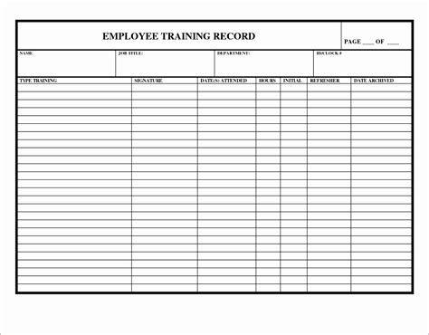 training record template  excel excel templates