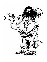 Coloring Pirate Pages Pirates Spyglass Buccaneers Telescope sketch template