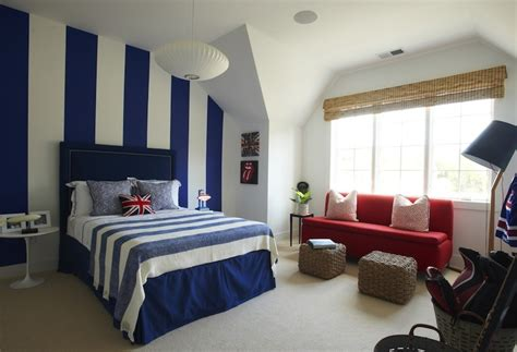 blue and orange boy s room with white and blue horizontal