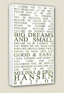 Wedding vows art canvas wall quotes by geezeescustomcanvas