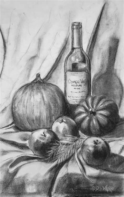 fall harvest charcoal drawing  dee dee whittle