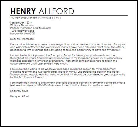 business resignation letter  letter samples
