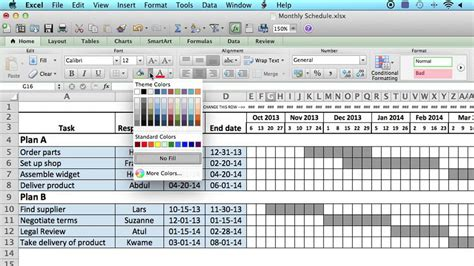 monthly schedule  microsoft excel