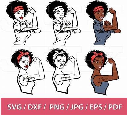 Clipart Woman Power Strong Svg Afro Powerful