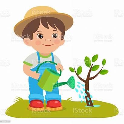 Watering Cartoon Boy Gardener Farmer Working Young