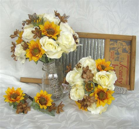 Sunflower Bridal Bouquet Sunflower Roses Wedding Bouquet Silk