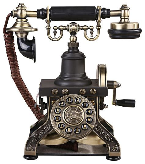 Retro Style Push Button Dial Table Telephone Set   Victorian   Home Electronics   by LNC HOME