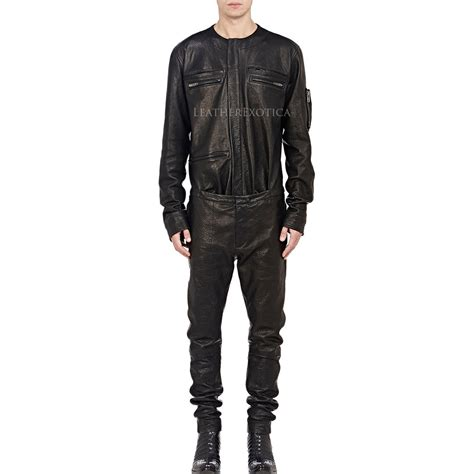 jumpsuits mens cool style shirt look leather jumpsuit for