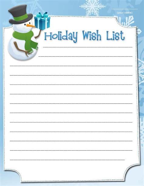 printable holiday  lists christmas  list