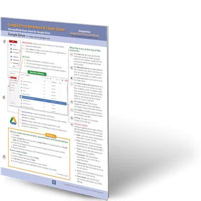 google drive cheat sheet printed