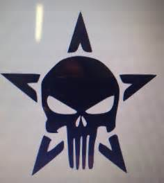 Punisher Skull With Star Vinyl Decal Sticker 22 color options