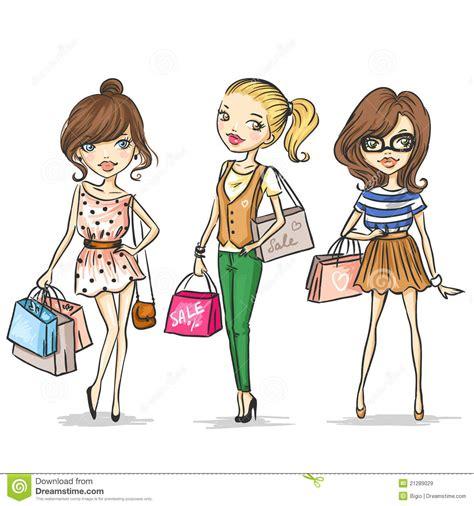 de meisjes van de manier vector illustratie afbeelding