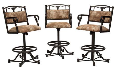 3 longhorn stationary swivel metal bar chairs luxury