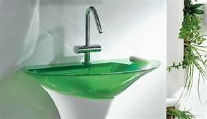 lavabo vert de salle de bain translucide photo 11 15 With salle de bain design avec lavabo salle de bain couleur