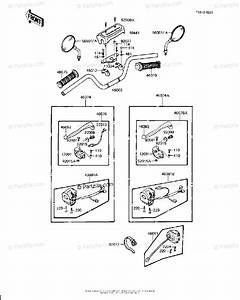 Kawasaki Motorcycle 1982 Oem Parts Diagram For Handlebar  Kz1000 J2