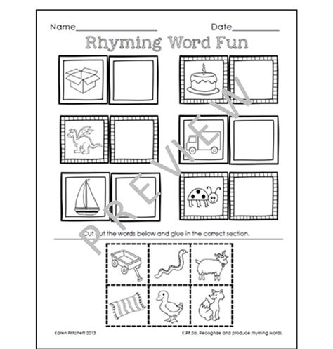 cut and paste rhyming worksheets for kindergarten the best