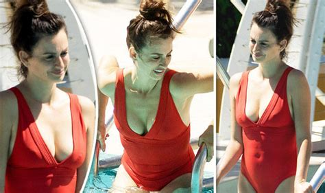 penelope cruz swimsuit penelope cruz is red hot as she flaunts extreme cleavage