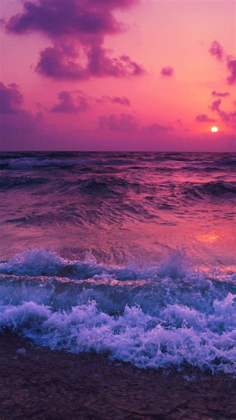 pink sunset sea waves beach  wallpaper