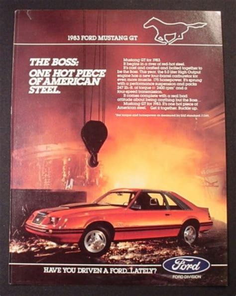 Magazine Ad For 1983 Ford Mustang Gt, Steel Works In The