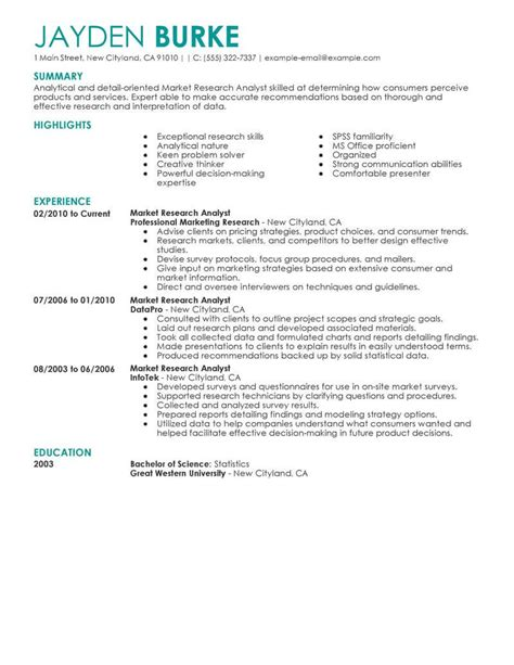 Market Research Resume Objective by Best Market Researcher Resume Exle From Professional