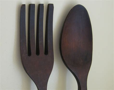 Large Wooden Fork And Spoon Wall Hanging by Large Wooden Fork And Spoon Wall Decor 28 Inches