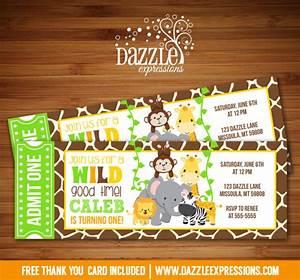 Printable Kids Jungle Ticket Birthday Invitation Zoo