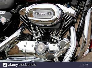 Close Up Of A V Twin Engine Of A Harley Davidson Sportster