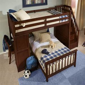 Dark Brown Varnished Teak Wood Bunk Beds With Stairs Using ...
