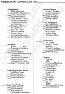 Executive Administrative Skills For Resume by Administrative Assistant Resume Skills List