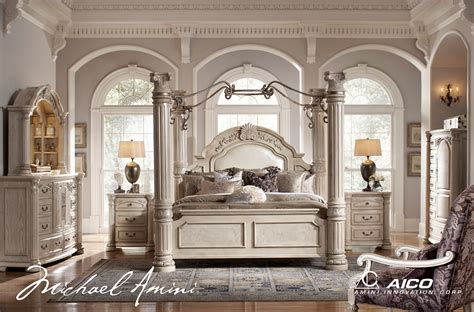 michael amini monte carlo silver pearl ii traditional bedroom set by aico