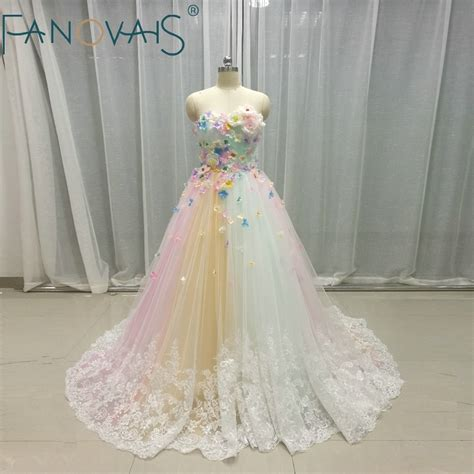 multi color wedding dresses tulle  flowers bridal gowns