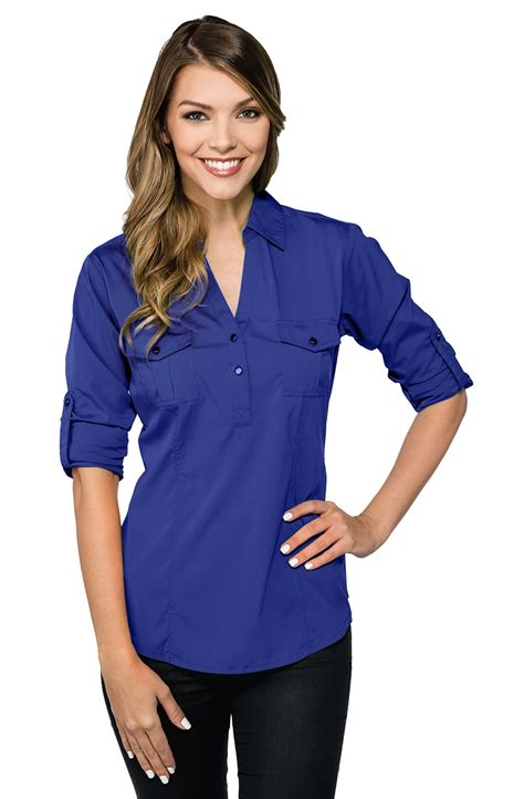 fitted blouses server fitted v neck roll up blouse sharperuniforms com
