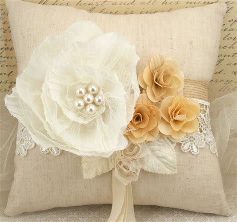 shabby chic outdoor pillows bridal ring bearer pillow in ivory rustic shabby chic outdoor wedding au natural collection
