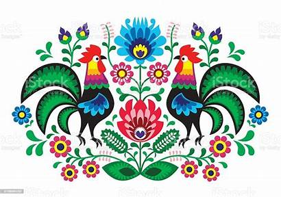 Folk Polish Traditional Embroidery Pattern Floral Cocks