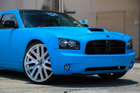 matte blue dodge charger  tate design rides magazine