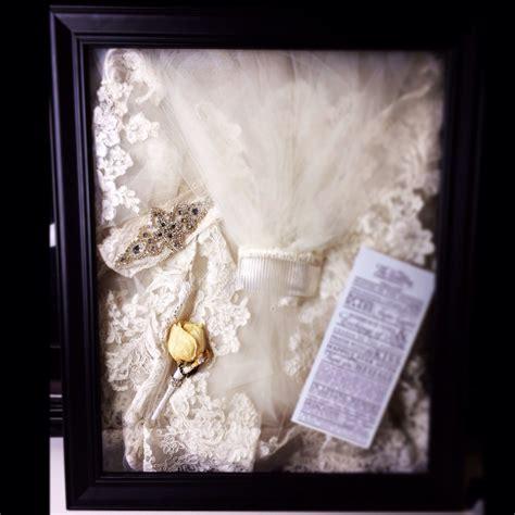 shadow box display of my wedding veil garter husband s