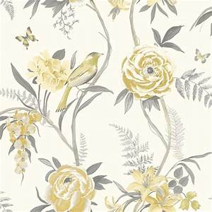 Grandeco Kew Rose Flower Pattern Wallpaper Floral Leaf ...