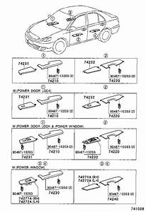 Toyota Corolla Door Window Switch Bezel  Left  Rear  Upper
