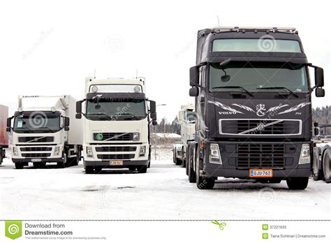 volvo group trucks group of volvo trucks in winter conditions editorial stock