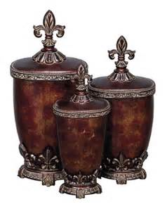Decorative Kitchen Canisters Sets Fleur De Lis Kitchen Canisters Set Of Three Glass Polystone Fleur De Lis Decorative